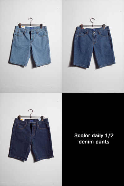 pants830. 3color daily 1/2 denim pants [3color]