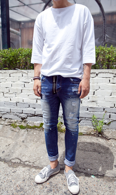 pants876. 2 zipper paint jean[SOLD OUT]