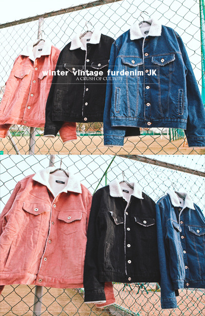 outer1028. winter vintage fur denim JK [3color]