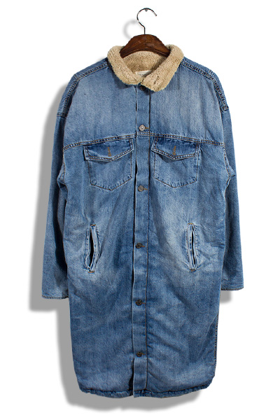 unique172. Denim fleece long jacket