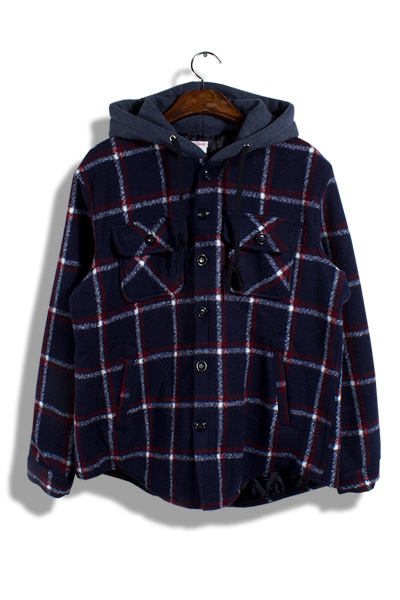 unique174. wool check hood jacket [2color][SOLD OUT]