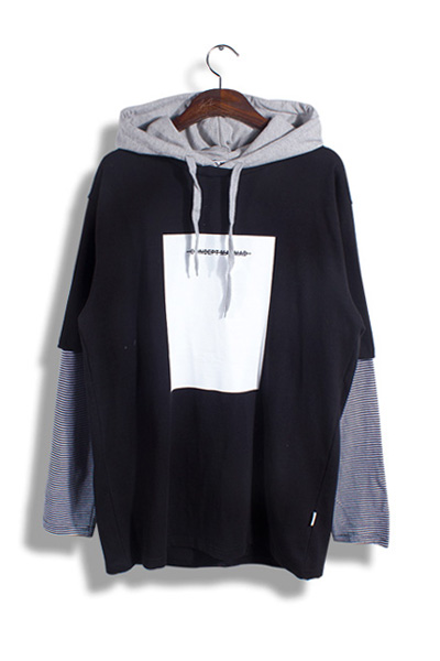 unique206. stripe layered hood [2color]