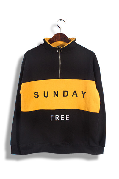 unique269. sunday half zip-up T [3color]