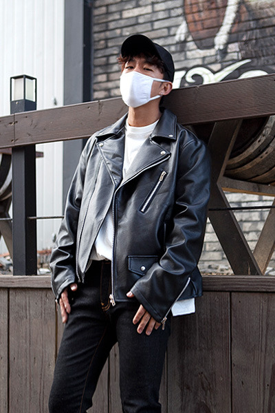 outer1096. Loose Fit Leather Rider JK
