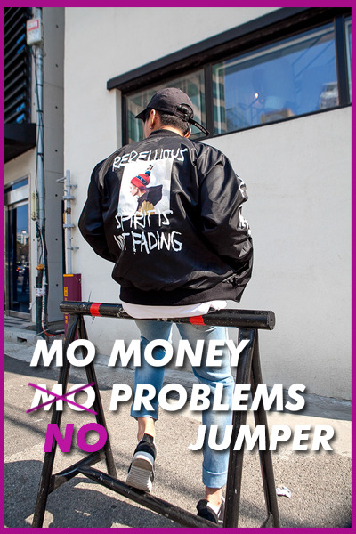 outer1106. mo money no problems jumper [3color]