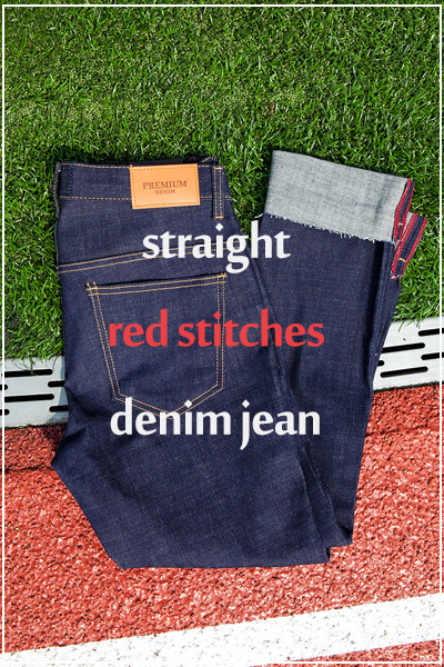 pants1100. straight red stitches denim jean