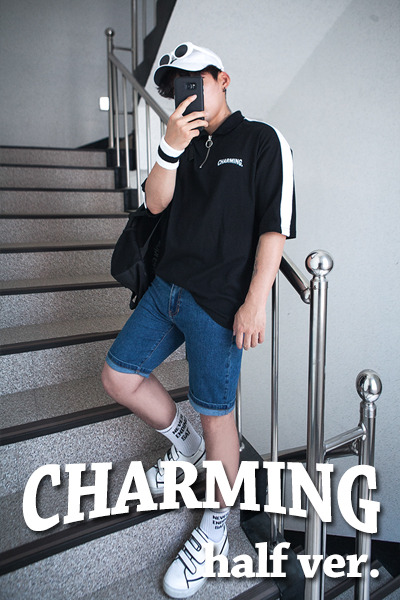 top1661. charming zip-up half ver T [5color]