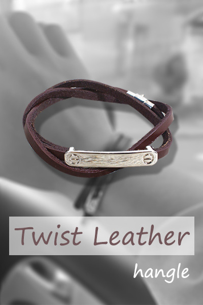 acc1086. Twist Leather hangle [3color]