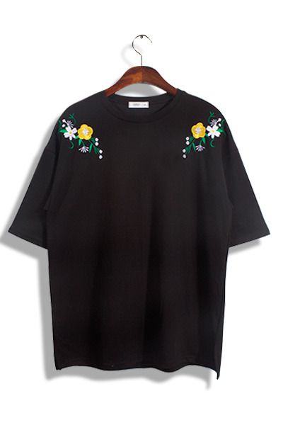 unique391. Shoulder Flower T [3color]