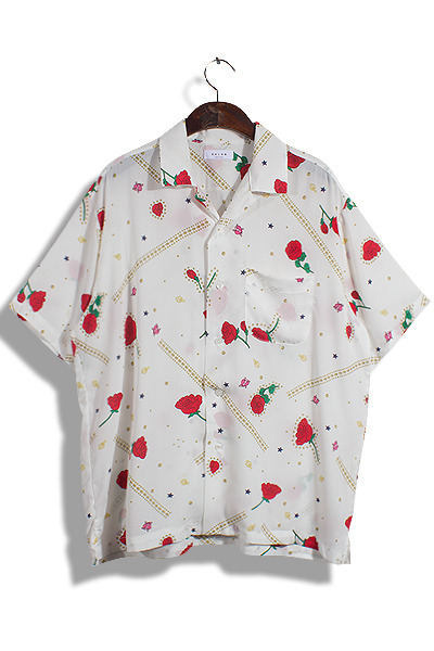 unique344. aloha rose half shirt [2color]