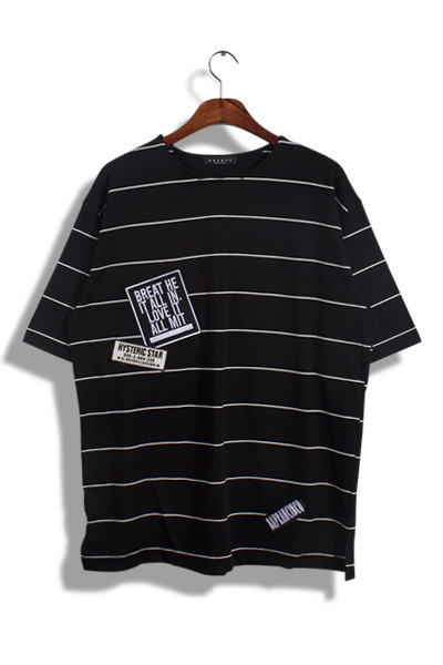 unique406. patch stripe half T [2color]