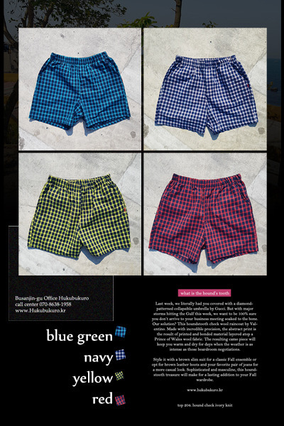 pants1132. vivid check half pants [4color]