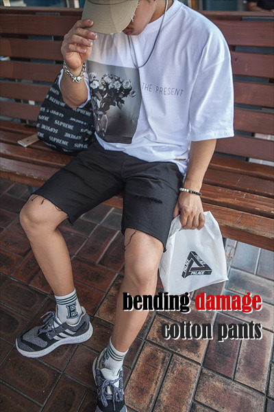 pants1143. bending damage cotton pants [4color]