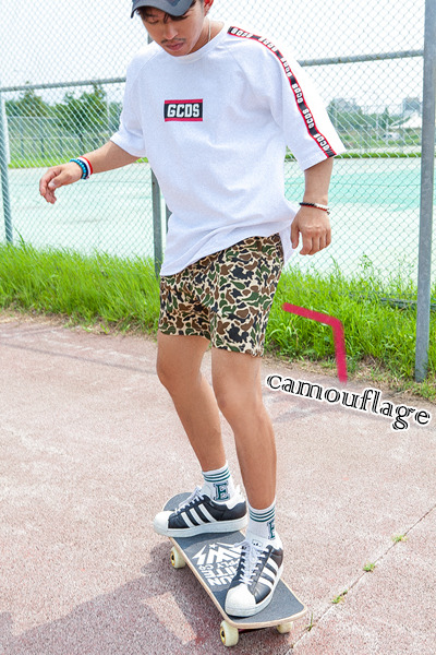 pants1165. camouflage bending half pants [2color]
