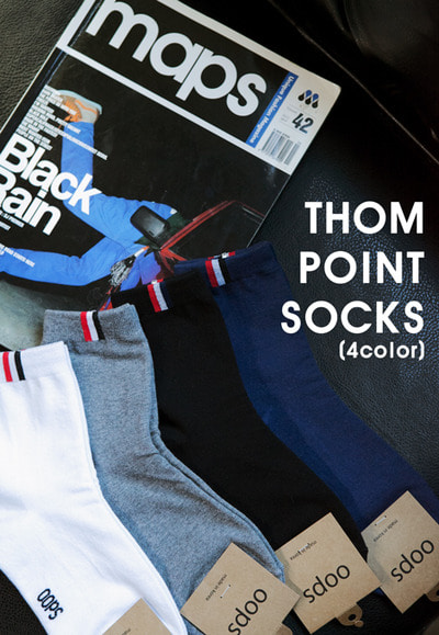 acc1169. thom point socks [4color]