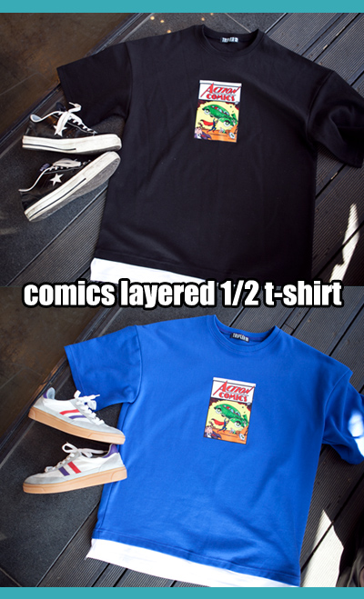 top1048. comics layered 1/2 t-shirt [3color]